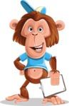 Macaque Monkey With T-Shirt and a Hat Cartoon Vector Character AKA Ron K - Notepad 4