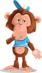 Macaque Monkey With T-Shirt and a Hat Cartoon Vector Character AKA Ron K - Oops