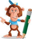 Macaque Monkey With T-Shirt and a Hat Cartoon Vector Character AKA Ron K - Pencil