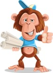 Macaque Monkey With T-Shirt and a Hat Cartoon Vector Character AKA Ron K - Plans