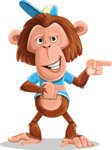 Macaque Monkey With T-Shirt and a Hat Cartoon Vector Character AKA Ron K - Point 2