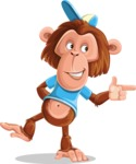 Macaque Monkey With T-Shirt and a Hat Cartoon Vector Character AKA Ron K - Point