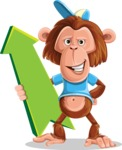 Macaque Monkey With T-Shirt and a Hat Cartoon Vector Character AKA Ron K - Pointer 1