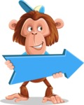 Macaque Monkey With T-Shirt and a Hat Cartoon Vector Character AKA Ron K - Pointer 2