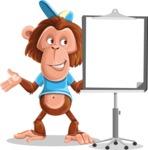 Macaque Monkey With T-Shirt and a Hat Cartoon Vector Character AKA Ron K - Presentation 1