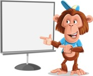 Macaque Monkey With T-Shirt and a Hat Cartoon Vector Character AKA Ron K - Presentation 2