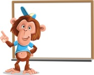 Macaque Monkey With T-Shirt and a Hat Cartoon Vector Character AKA Ron K - Presentation 3