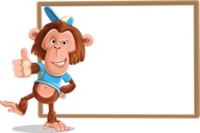 Macaque Monkey With T-Shirt and a Hat Cartoon Vector Character AKA Ron K - Presentation 5