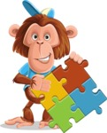 Macaque Monkey With T-Shirt and a Hat Cartoon Vector Character AKA Ron K - Puzzle