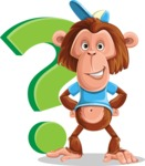 Macaque Monkey With T-Shirt and a Hat Cartoon Vector Character AKA Ron K - Question