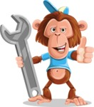 Macaque Monkey With T-Shirt and a Hat Cartoon Vector Character AKA Ron K - Repair
