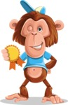Macaque Monkey With T-Shirt and a Hat Cartoon Vector Character AKA Ron K - Ribbon