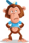 Macaque Monkey With T-Shirt and a Hat Cartoon Vector Character AKA Ron K - Roll Eyes