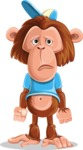 Macaque Monkey With T-Shirt and a Hat Cartoon Vector Character AKA Ron K - Sad