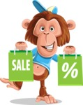 Macaque Monkey With T-Shirt and a Hat Cartoon Vector Character AKA Ron K - Sale 2