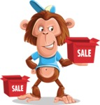 Macaque Monkey With T-Shirt and a Hat Cartoon Vector Character AKA Ron K - Sale