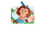 Macaque Monkey With T-Shirt and a Hat Cartoon Vector Character AKA Ron K - Shape 1