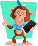 Macaque Monkey With T-Shirt and a Hat Cartoon Vector Character AKA Ron K - Shape 10