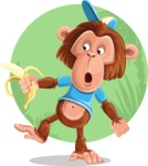 Macaque Monkey With T-Shirt and a Hat Cartoon Vector Character AKA Ron K - Shape 12
