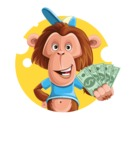 Macaque Monkey With T-Shirt and a Hat Cartoon Vector Character AKA Ron K - Shape 2