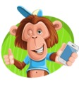 Macaque Monkey With T-Shirt and a Hat Cartoon Vector Character AKA Ron K - Shape 4