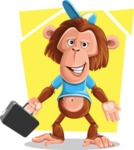 Macaque Monkey With T-Shirt and a Hat Cartoon Vector Character AKA Ron K - Shape 5