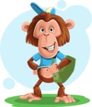 Macaque Monkey With T-Shirt and a Hat Cartoon Vector Character AKA Ron K - Shape 6