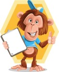 Macaque Monkey With T-Shirt and a Hat Cartoon Vector Character AKA Ron K - Shape 7