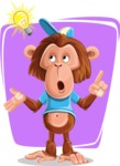Macaque Monkey With T-Shirt and a Hat Cartoon Vector Character AKA Ron K - Shape 8