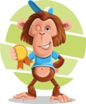 Macaque Monkey With T-Shirt and a Hat Cartoon Vector Character AKA Ron K - Shape 9