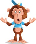 Macaque Monkey With T-Shirt and a Hat Cartoon Vector Character AKA Ron K - Shocked