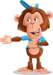 Macaque Monkey With T-Shirt and a Hat Cartoon Vector Character AKA Ron K - Show 2
