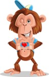 Macaque Monkey With T-Shirt and a Hat Cartoon Vector Character AKA Ron K - Show Love