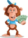 Macaque Monkey With T-Shirt and a Hat Cartoon Vector Character AKA Ron K - Show me  the Money
