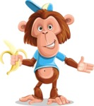 Macaque Monkey With T-Shirt and a Hat Cartoon Vector Character AKA Ron K - Show