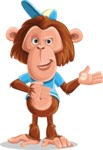 Macaque Monkey With T-Shirt and a Hat Cartoon Vector Character AKA Ron K - Showcase