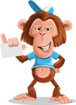 Macaque Monkey With T-Shirt and a Hat Cartoon Vector Character AKA Ron K - Sign 1