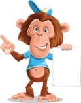 Macaque Monkey With T-Shirt and a Hat Cartoon Vector Character AKA Ron K - Sign 2