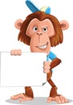 Macaque Monkey With T-Shirt and a Hat Cartoon Vector Character AKA Ron K - Sign 3