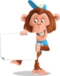 Macaque Monkey With T-Shirt and a Hat Cartoon Vector Character AKA Ron K - Sign 4