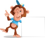 Macaque Monkey With T-Shirt and a Hat Cartoon Vector Character AKA Ron K - Sign 7