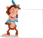 Macaque Monkey With T-Shirt and a Hat Cartoon Vector Character AKA Ron K - Sign 8