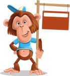 Macaque Monkey With T-Shirt and a Hat Cartoon Vector Character AKA Ron K - Sign 9