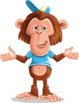 Macaque Monkey With T-Shirt and a Hat Cartoon Vector Character AKA Ron K - Sorry