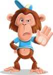 Macaque Monkey With T-Shirt and a Hat Cartoon Vector Character AKA Ron K - Stop 2