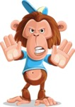 Macaque Monkey With T-Shirt and a Hat Cartoon Vector Character AKA Ron K - Stop