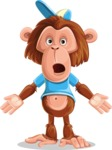 Macaque Monkey With T-Shirt and a Hat Cartoon Vector Character AKA Ron K - Stunned