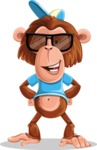 Macaque Monkey With T-Shirt and a Hat Cartoon Vector Character AKA Ron K - Sunglasses