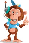 Macaque Monkey With T-Shirt and a Hat Cartoon Vector Character AKA Ron K - Support 2