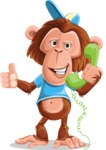 Macaque Monkey With T-Shirt and a Hat Cartoon Vector Character AKA Ron K - Support